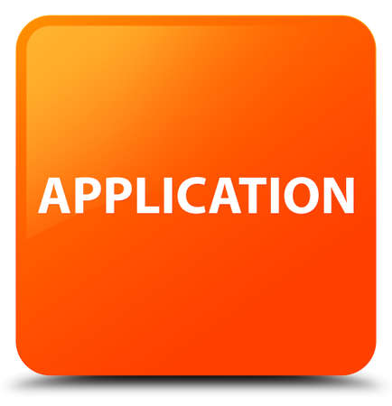 Application isolated on orange square button abstract illustration