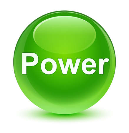 Power isolated on glassy green round button abstract illustration