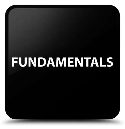 Fundamentals isolated on black square button abstract illustration