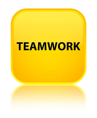 cooperate: Teamwork isolated on special yellow square button reflected abstract illustration