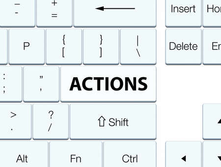 Actions isolated on white keyboard button abstract illustration