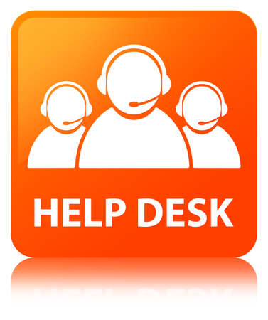 Help desk (customer care team icon) isolated on orange square button reflected abstract illustration Stock Photo