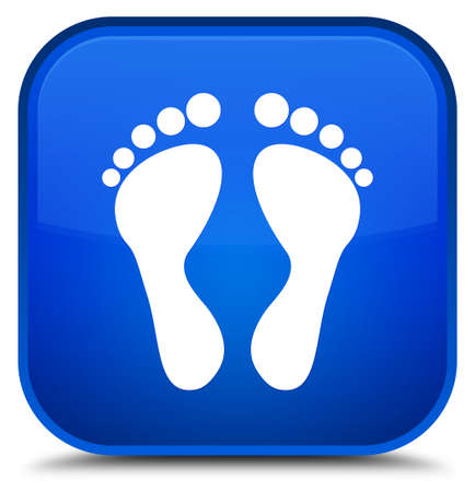 Footprint icon isolated on special blue square button abstract illustration
