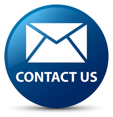 Contact us (email icon) isolated on blue round button abstract illustration Stock Photo