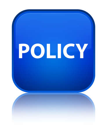 Policy isolated on special blue square button reflected abstract illustration Stok Fotoğraf