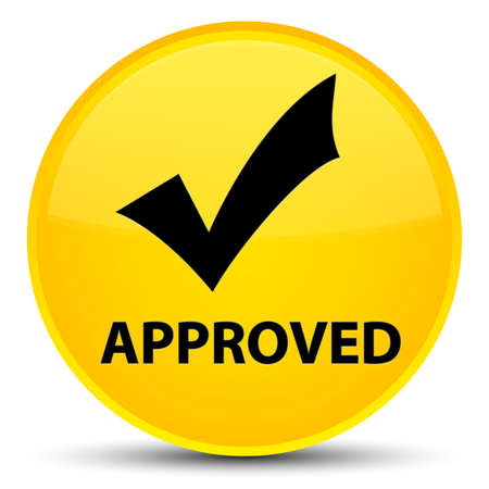 Approved (validate icon) isolated on special yellow round button abstract illustration Stock Photo