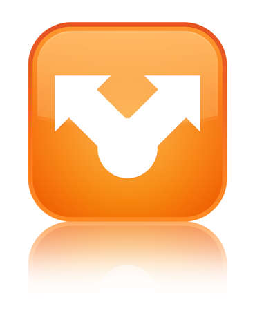 Share icon isolated on special orange square button reflected abstract illustration