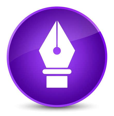 Pen icon isolated on elegant purple round button abstract illustration Stock Photo
