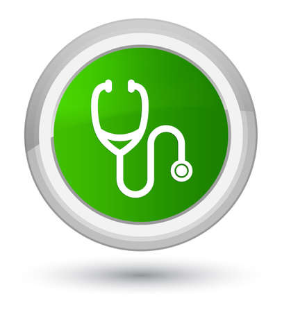 Stethoscope icon isolated on prime green round button abstract illustration Stock Photo