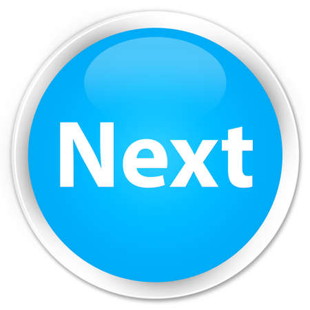 Next isolated on premium cyan blue round button abstract illustration