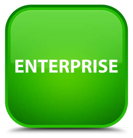Enterprise isolated on special green square button abstract illustration Stock Photo