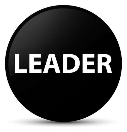 Leader isolated on black round button abstract illustration Stock Photo