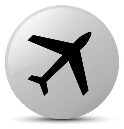 Plane icon isolated on white round button abstract illustration