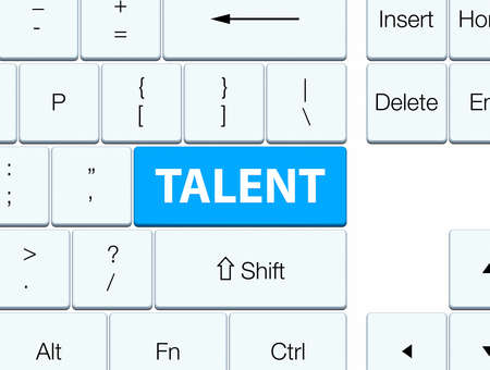 Talent isolated on cyan blue keyboard button abstract illustration