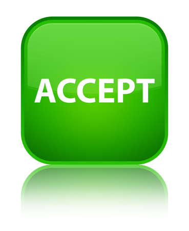 Accept isolated on special green square button reflected abstract illustration Stok Fotoğraf - 89052592