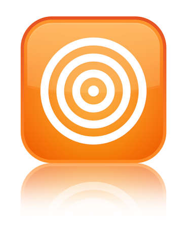 aim: Target icon isolated on special orange square button reflected abstract illustration Stock Photo