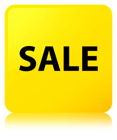 Sale isolated on yellow square button reflected abstract illustration Stock Photo