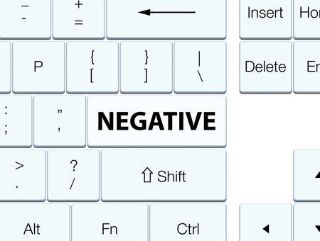 Negative isolated on white keyboard button abstract illustration