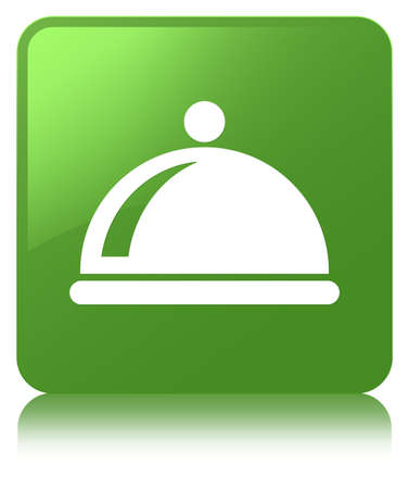 Food dish icon isolated on soft green square button reflected abstract illustration Stock Photo