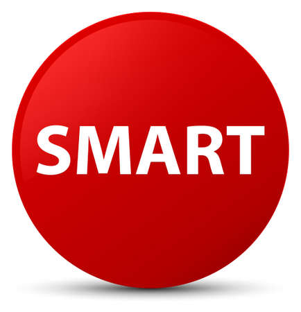 Smart isolated on red round button abstract illustration Imagens