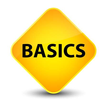 Basics isolated on elegant yellow diamond button abstract illustration