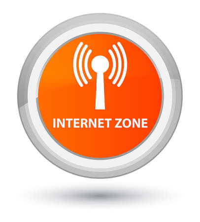 Internet zone (wlan network) isolated on prime orange round button abstract illustration