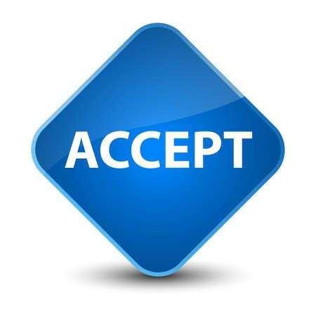 Accept isolated on elegant blue diamond button abstract illustration Stok Fotoğraf