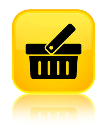 Shopping cart icon isolated on special yellow square button reflected abstract illustration Foto de archivo