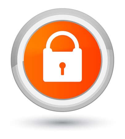 Padlock icon isolated on prime orange round button abstract illustration