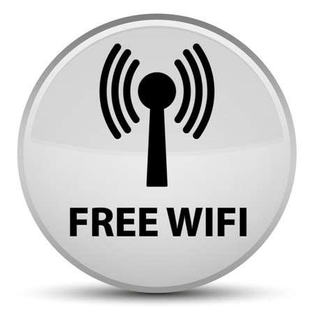 Free wifi (wlan network) isolated on special white round button abstract illustration