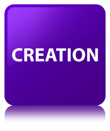 Creation isolated on purple square button reflected abstract illustration