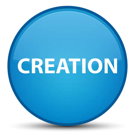 Creation isolated on special cyan blue round button abstract illustration Stok Fotoğraf