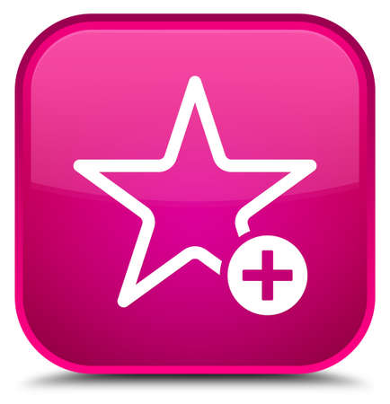 Add to favorite icon isolated on special pink square button abstract illustration