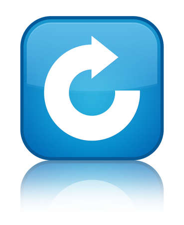 Reply arrow icon isolated on special cyan blue square button reflected abstract illustration