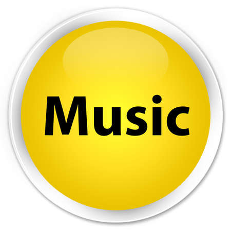 Music isolated on premium yellow round button abstract illustration