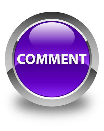 Comment isolated on glossy purple round button abstract illustration Reklamní fotografie