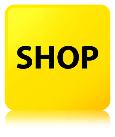 Shop isolated on yellow square button reflected abstract illustration