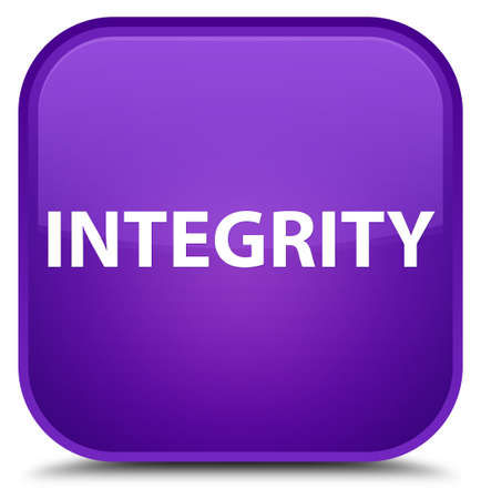 Integrity isolated on special purple square button abstract illustration