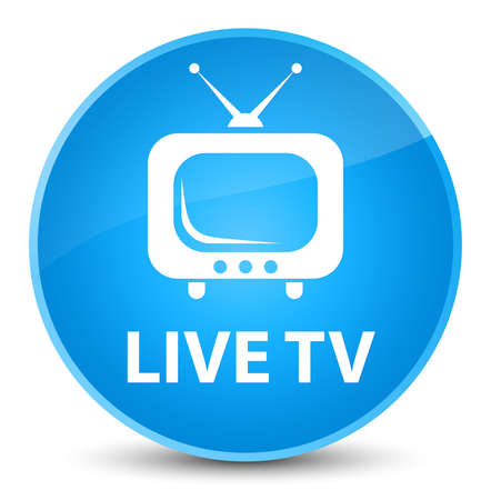 Live tv isolated on elegant cyan blue round button abstract illustration