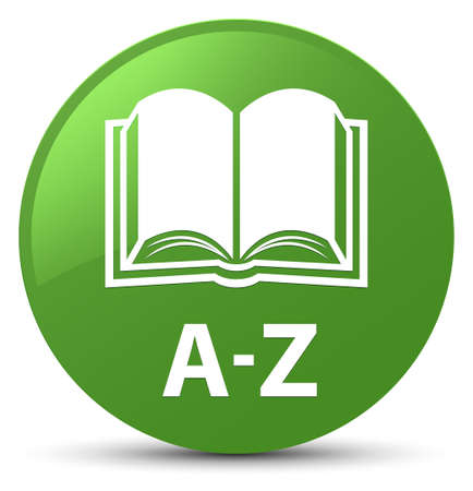 A-Z (book icon) isolated on soft green round button abstract illustration Stock Photo