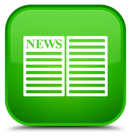 Newspaper icon isolated on special green square button abstract illustration Stock Photo