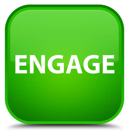Engage isolated on special green square button abstract illustration Imagens