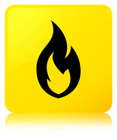 Fire flame icon isolated on yellow square button reflected abstract illustration