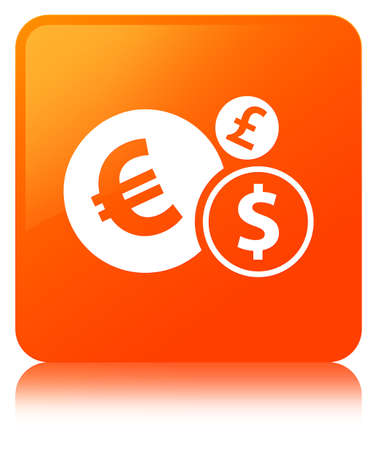Finances icon isolated on orange square button reflected abstract illustration