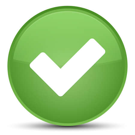 validation: Validate icon isolated on special soft green round button abstract illustration