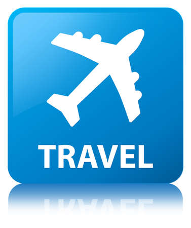 Travel (plane icon) isolated on cyan blue square button reflected abstract illustration