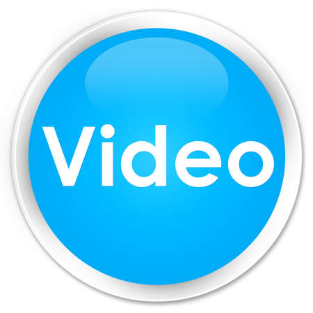 Video isolated on premium cyan blue round button abstract illustration