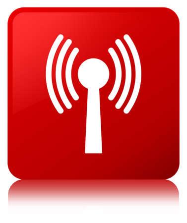 Icône de réseau Wlan isolé sur le bouton carré rouge reflète l'illustration abstraite Banque d'images - 89051954
