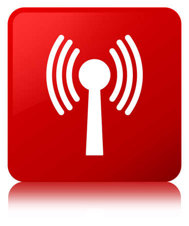 Wlan network icon isolated on red square button reflected abstract illustration