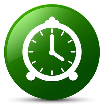 reminder: Alarm clock icon isolated on green round button abstract illustration